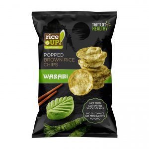 Τσιπς Καστανού Ρυζιού Γουασάμπι Rice Up Popped Brown Rice Chips Wasabi 60g