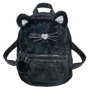 Τσάντα Πλάτης Λούτρινη 3D Με Σχέδιο Γάτα Μαύρη Backpack 3D Faux Fur With Cat Design Black 20x10x28cm