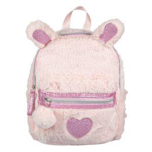Τσάντα Πλάτης Λούτρινη 3D Με Αυτάκια Και Καρδιά Ροζ Backpack 3D Faux Fur With Ears And Heart Pink 19x8x26cm