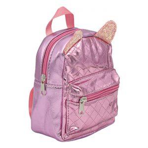 Τσάντα Πλάτης Πλαστική Με Αυτάκια 3D Λιλά Και Ροζ Backpack Plastic With Ears 3D Lila And Pink 16x7x16cm