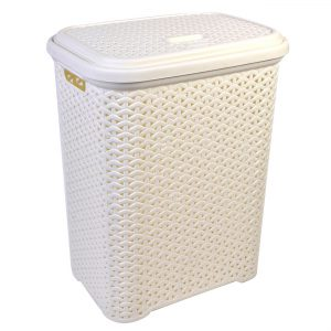 Καλάθι Απλύτων Πλαστικό Τύπου Ρατάν Mε Χειρολαβές Εκρού Laundry Basket 35lt Plastic Ratan Ecru With Handles 36x26x50cm