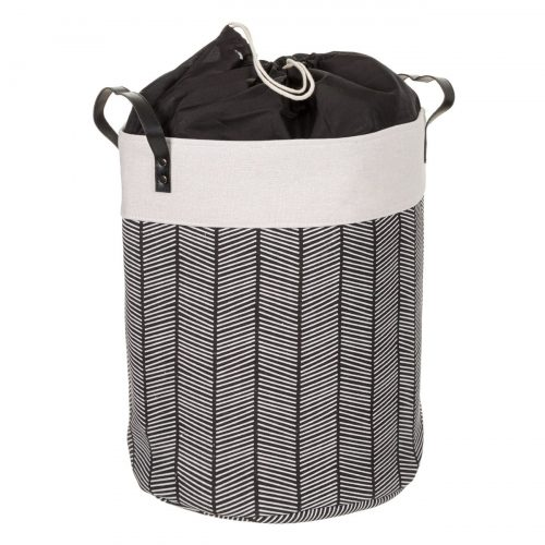 Laundry Basket 45lt In Black And Ecru With Handles 35x45cm-A