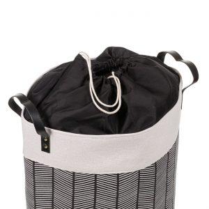 Καλάθι Απλύτων Μαύρο Εκρού Mε Χερούλια Laundry Basket 45lt In Black And Ecru With Handles 35x45cm
