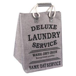 Καλάθι Απλύτων Mε Χερούλια Γκρι Με Μαύρο Τύπωμα Laundry Basket 46lt Deluxe Laundry Service 32x32x45cm