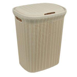 Καλάθι Απλύτων Πλαστικό Πλεκτό Mε Χειρολαβές Κρέμ Laundry Basket 55lt Plastic Type Knitted Cream With Handles 45x35x55cm