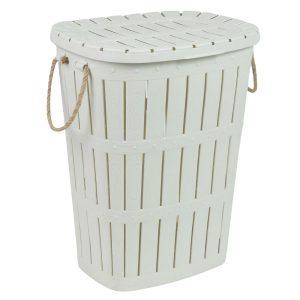 Καλάθι Απλύτων Από Ανάγλυφο Πλαστικό Mε Χερούλια Υπόλευκο Laundry Basket 62lt From Embossed Plastic Off White With Rope Handles 45x35x58cm