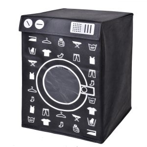 Καλάθι Απλύτων Σε Σχήμα Και Τύπωμα Πλυντήριο Μαύρο Λευκό Laundry Basket 78lt In Shape And Print Washing Machine 44x32x55cm