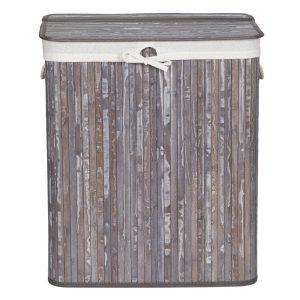 Καλάθι Απλύτων Πτυσσόμενο Μπαμπού Με 2 Εσωτερικές Υφασμάτινες Θήκες Laundry Hamper 110lt Folded Bamboo With 2 Inner Fabric Case 52x32x63cm