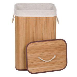 Καλάθι Απλύτων Πτυσσόμενο Μπαμπού Σε Φυσικό Χρώμα Με Εσωτερική Υφασμάτινη Θήκη Laundry Hamper 72lt Folded Bamboo Natural With Inner Fabric Case 40x30x60cm