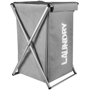 Καλάθι Απλύτων Αναδιπλούμενο Με Βάση Αλουμινίου Και Γκρι Ύφασμα Laundry Hamper Folded 76lt Laundry Print 35x38x57cm