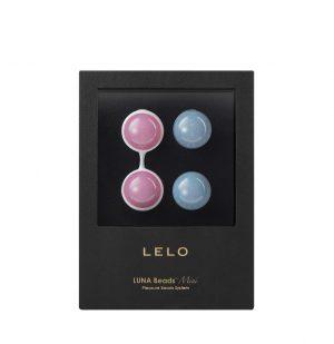 Κολπικές Χάντρες Μικρές Lelo Luna Beads Mini Weighted Vaginal Beads Petal Pink And Powder Blue 75x30x10mm