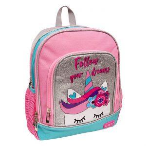 Σχολική Τσάντα Πλάτης Νηπιαγωγείου Μονόκερος Follow Your Dreams Backpack School Kindergarten 30x12x38cm
