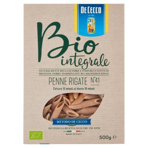 De Cecco Ζυμαρικά Βιολογικά Ολικής Αλέσεως No 41 Penne Rigate Bio 500g