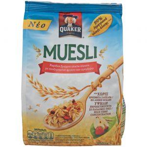 Δημητριακά Μούσλι Ολικής Άλεσης Αποξηραμένα Φρούτα και Αμύγδαλα Quaker Muesli 450g