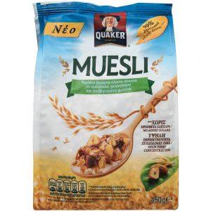 Δημητριακά Μούσλι Ολικής Άλεσης Φουντούκια Αμύγδαλα και Αποξηραμένα Φρούτα Quaker Muesli 450g