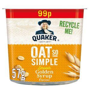 Νιφάδες Βρώμης Ολικής Άλεσης Quaker Oat So Simple Golden Syrup 57g