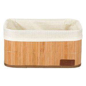 Καλάθι Αποθήκευσης Μπάνιου Μπαμπού Mε Εσωτερική Επένδυση Ύφασμα Bamboo Bath Storage Basket With Lining Fabric Home 32x22x16cm