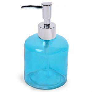 Δοχείο Κρεμοσάπουνου Γυάλινο Με Αντλία Σε Γαλάζιο Dispenser Cream Soap Glass Container with Pump In Light Blue 250ml 374564