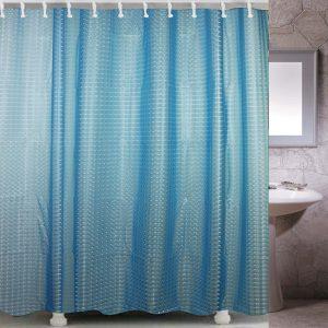 Κουρτίνα Μπάνιου Γαλάζια Ημιδιάφανη Με Ανάγλυφα Σχέδια Πλαστική Shower Curtain Blue Clear Frosty With Embossed 3D Patterns PEVA 180x180cm