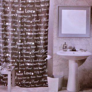Κουρτίνα Μπάνιου Καφέ Υφασμάτινη Με Τύπωμα Φράσεις Shower Curtain Brown Fabric With Printed Phrases 180x180cm