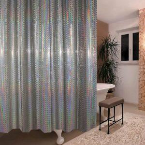 Κουρτίνα Μπάνιου Γκρι Ημιδιάφανη Πλαστική Shower Curtain Grey Laser Translucent PEVA 180x180cm