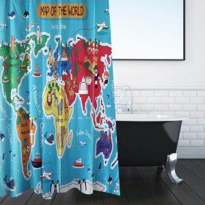 Κουρτίνα Μπάνιου Γαλάζια Υφασμάτινη Με Τύπωμα Παιδικό Παγκόσμιο Χάρτη Shower Curtain Light Blue Fabric With Printed Childrens World Map 180x180cm