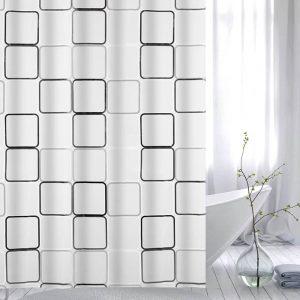 Κουρτίνα Μπάνιου Ημιδιάφανη Με Τύπωμα Τετράγωνα Πλαστική Shower Curtain Translucent With Printed Squares PEVA 180x180cm