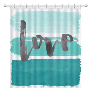 Κουρτίνα Μπάνιου Λευκή Με Τιρκουάζ Πινελιές Υφασμάτινη Και Τύπωμα Love Shower Curtain White With Turquoise Brushes And Printed Love 180x180cm