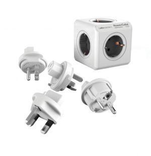 Έξυπνο Πολύπριζο 5 Θέσεων Με 4 Αντάπτορες Γκρι Allocacoc Rewirable Powercube 4 Plugs Grey