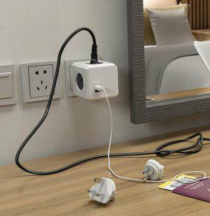 Έξυπνο Πολύπριζο 4 Θέσεων Γκρι Allocacoc Cube Rewirable USB 3 Plugs IEC Cable Grey 1m