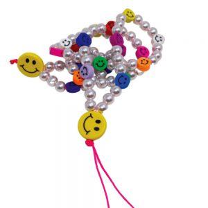 Αξεσουάρ Κινητού The Mamacita Store Handmade Phone Strap Smiley Pearls