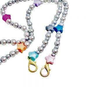 Αξεσουάρ Μάσκας Κολιέ The Mamacita Store Stars And Grey Pearls Adult Handmade Mask Holder Necklace