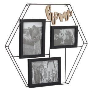 Κάδρο Φωτογραφιών Μαύρο Μεταλλικό Με Πολυγωνικό Σχήμα 3 Θέσεις Φωτογραφιών Home 50x44cm