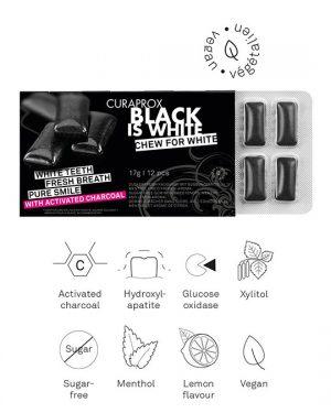 Τσίχλα Με Ενεργό Άνθρακα Και Γεύση Λεμόνι Μέντα Curaprox Black Is White With Active Carbon Vegan 17g