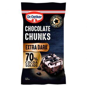 Σοκολάτα Υγείας Κομματάκια Dr. Oetker Chocolate Chunks Extra Dark 100g