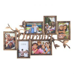 Κάδρο Φωτογραφιών Μπρονζέ Πλαστικό Family 6 Θέσεις Φωτογραφιών 60x38x3cm