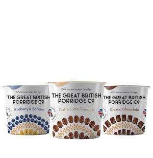 Νιφάδες Βρώμης Χωρίς Γλουτένη Vegan The Great British Porridge Co Gluten Free Vegan Pots Starter Pack 3x60g