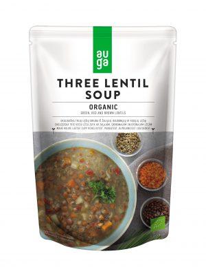 Σούπα Έτοιμη Τρίχρωμης Φακής Βιολογική Auga Three Lentil Soup Organic Vegan 400g