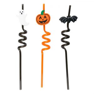 Καλαμάκια Πλαστικά Σπιράλ Με Θέμα Halloween Theme Plastic Spiral Straws 6x270mm 4 τμχ.